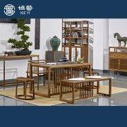 新中式家具乌金石茶桌
